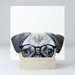 Pug with glasses Dog illustration original painting print Mini Art Print