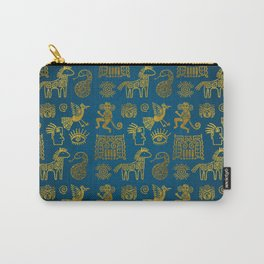 Aztec ancient animal gold symbols on teal Carry-All Pouch