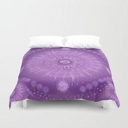 """Purple & Mallow Vault Mandala"" (Silver stars) Duvet Cover"