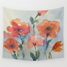 Flowers in watercolor Wall Tapestry