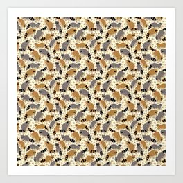 Adorable Racoon Friends, Animal Pattern in Nature Colors of Grey and Brown with Paw Prints Art Print