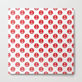 Nautical Red Polka Dot - Red and White Anchor Metal Print