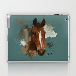 Brown and White Horse Watercolor Dark Laptop & iPad Skin