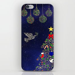 Blue and Gold Christmas Night iPhone Skin