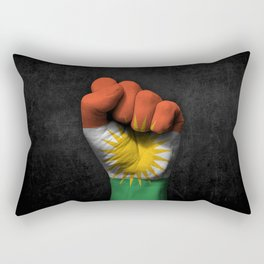 Kurdish Flag on a Raised Clenched Fist Rectangular Pillow