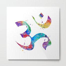 Om Art Aum Symbol Colorful Watercolor Gift Peace Art Spiritual Symbol Gift Hinduism Art Metal Print