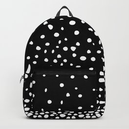 White Polka Dot Rain on Black Backpack