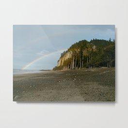 Rainbows at Tow Hill, North Beach, Haida Gwaii, BC, Canada Metal Print