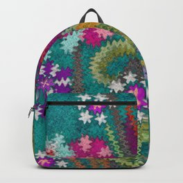Starry Floral Felted Wool, Turquoise and Pink Backpack