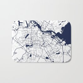 Amsterdam White on Navy Street Map Bath Mat