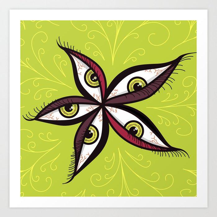 Tired Green Eyes Flower Art Print