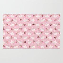 Swan, swan art, swan pattern, floral Rug