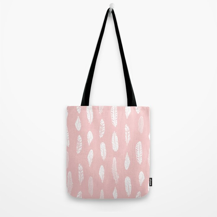 Feather pink and white minimal feathers pattern nursery gender neutral boho decor Tote Bag