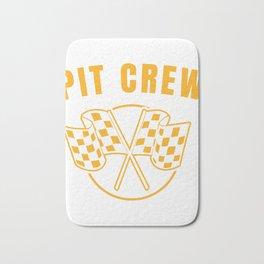Automotive Race Car Sports Team Pit Crew Racing Car Racetrack Checkered Flag T-shirt Design Bath Mat