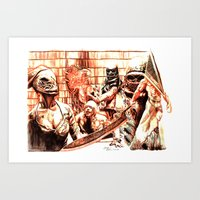 silent hill Art Prints featuring Silent Hill by Joseph Silver