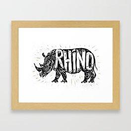 Rhino in tribal style Framed Art Print