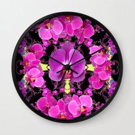 Purple  Butterfly Orchids Pattern Fantasy Yellow Black Art Wall Clock