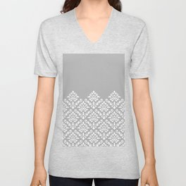 Damask Baroque Part Pattern White on Grey Unisex V-Neck