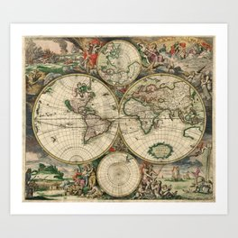 1689 Map of the World by Gerard van Schagen Art Print
