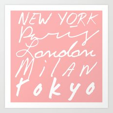 Fashion Capitals of the World - Coral Art Print