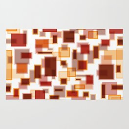 Red Abstract Rectangles Rug