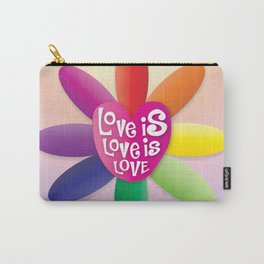 Love is Love is Love - Rainbow Flower Carry-All Pouch