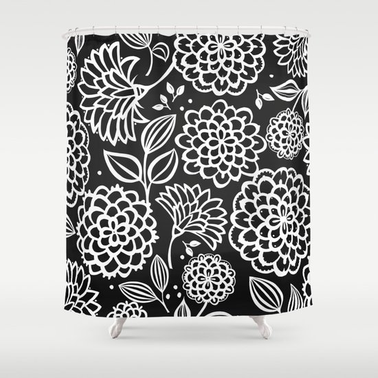 Pauli Floral Black And White Shower Curtain By November Tigerlilly Society6
