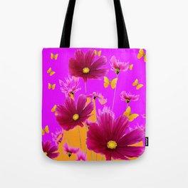 DECORATIVE YELLOW BUTTERFLIES & FUCHSIA PURPLE SPRING FLOWERS GARDEN ART Tote Bag