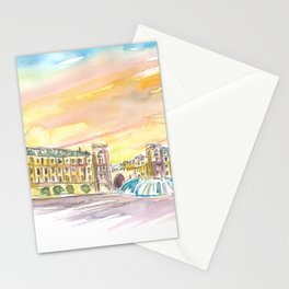 Munich Bavaria Stachus Place At Sunset Stationery Cards