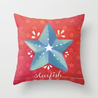 starfish Throw Pillows featuring Starfish by Anoosha Syed