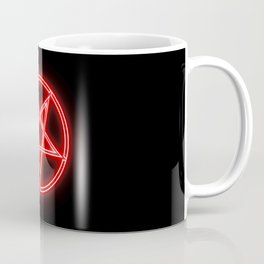Bright Neon Red Pentagram Star Coffee Mug