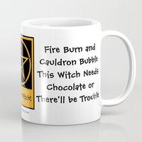pagan Mugs featuring This Witch Needs Chocolate! Pagan Wiccan Cup Mug by Cheeky Witch