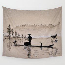 Sunrise Bird Fishing Wall Tapestry