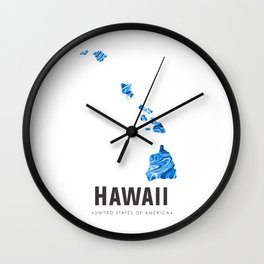 Hawaii - State Map Art - Abstract Map - Blue Wall Clock