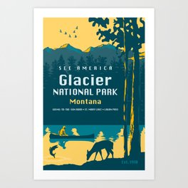 See America – Glacier National Park Travel Poster Art Print
