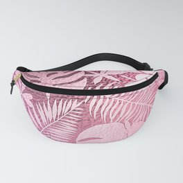Pink Lemonade Iridescent Tropical Palm Leaves Pattern Fanny Pack