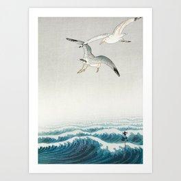 Seagulls over a stormy sea - Vintage Japanese Woodblock Print Art Art Print
