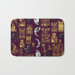 Beautiful Pagan Themed Print - Tarot Cards, Moon Cycles and Ravens Bath Mat