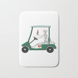 Old Timer Skeleton In Golf Cart Discovers Light Beer graphic Bath Mat