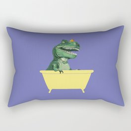 Playful T-Rex in Bathtub in Purple Rectangular Pillow