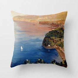 Italy Sorrento Bay of Naples vintage Italian travel Throw Pillow