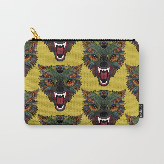 wolf fight flight ochre Carry-All Pouch