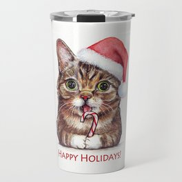 Cat in Santa Hat with Candy Cane Funny Christmas Animal Travel Mug