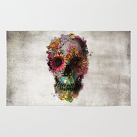 headphones Area & Throw Rugs featuring SKULL 2 by Ali GULEC