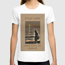 Sunset and lonely silhouette on the beach T-shirt