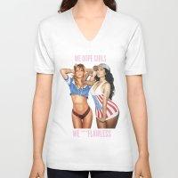 minaj V-neck T-shirts featuring WE DOPE GIRLS WE ***FLAWLESS by Nicki Minaj Spain