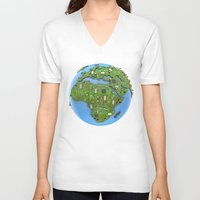 data V-neck T-shirts featuring Data Earth by GrandeDuc
