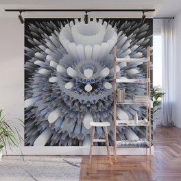 3D layers of mandala in blue-white-grey-black Wall Mural