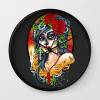 day of the dead Wall Clocks featuring Day of the Dead by Little Lost Forest