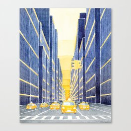 NYC, yellow cabs Canvas Print
